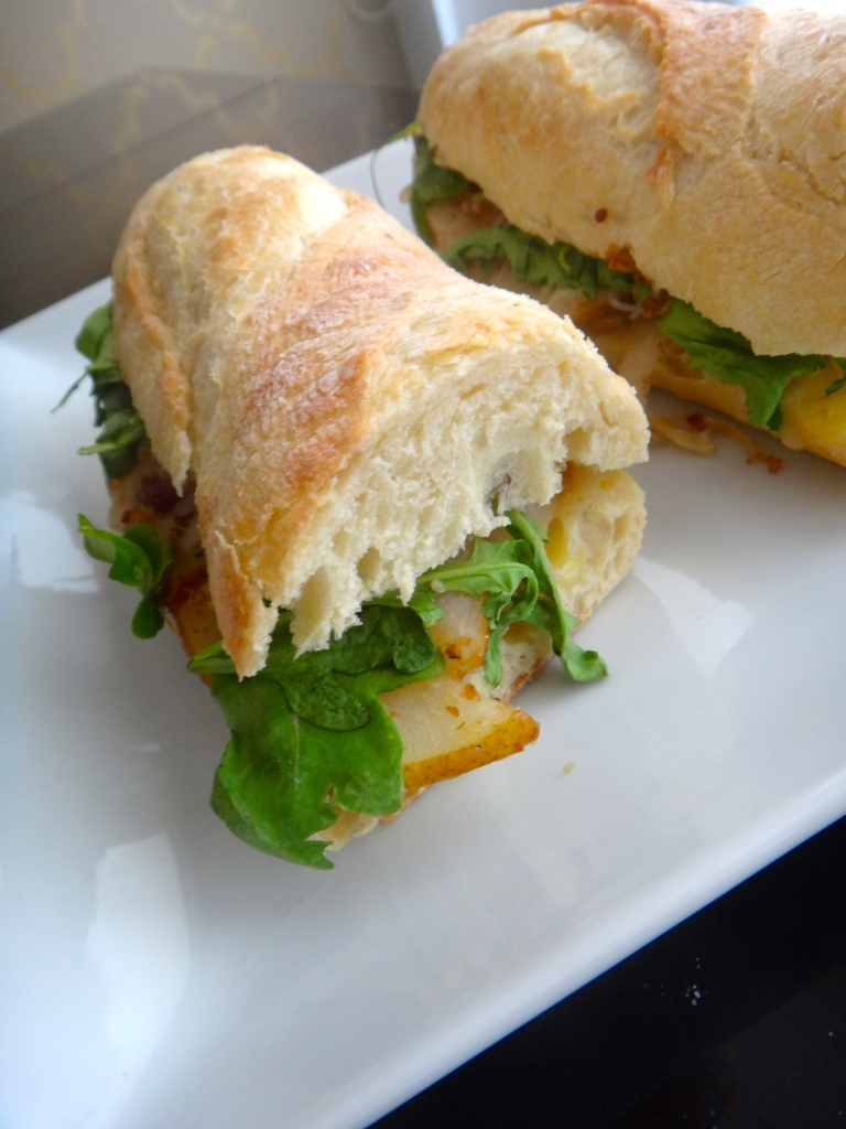 {Baked Maple Mustard Brie Baguette: my best vegetarian sandwich yet}