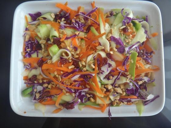 Rainbow bright zucchini ribbon salad