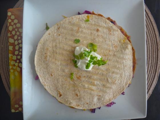 The avo-bean quesadilla - green monster version
