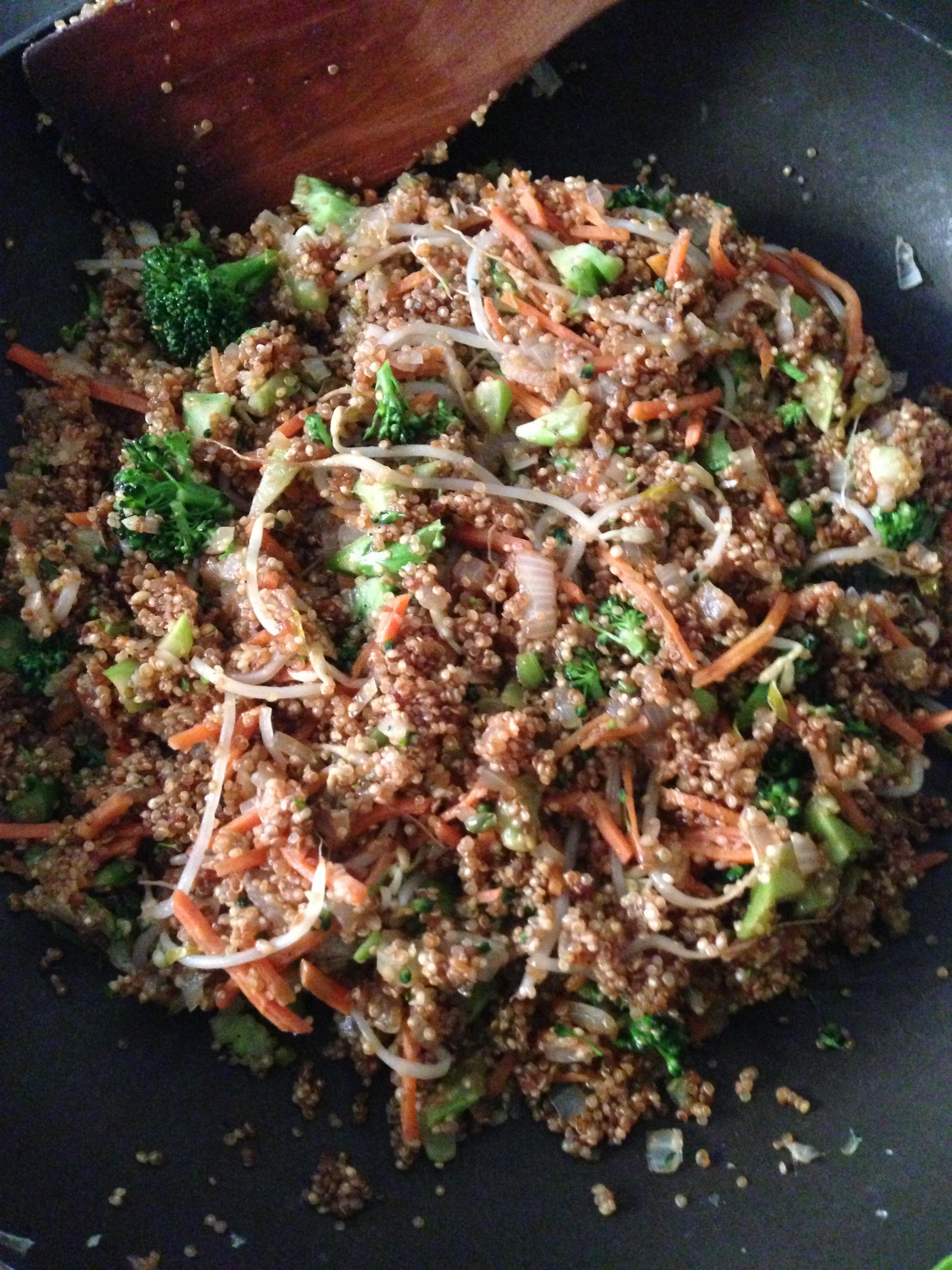 {Asian night – vegan style: quinoa stuffed lettuce wraps with hot peanut sauce}