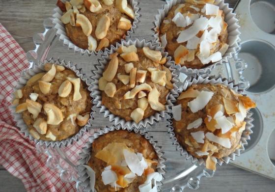 Banana-coconut oatmeal muffins